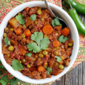 Indian Ground Lamb Curry made in an Instant Pot by Ashley of MyHeartBeets.com
