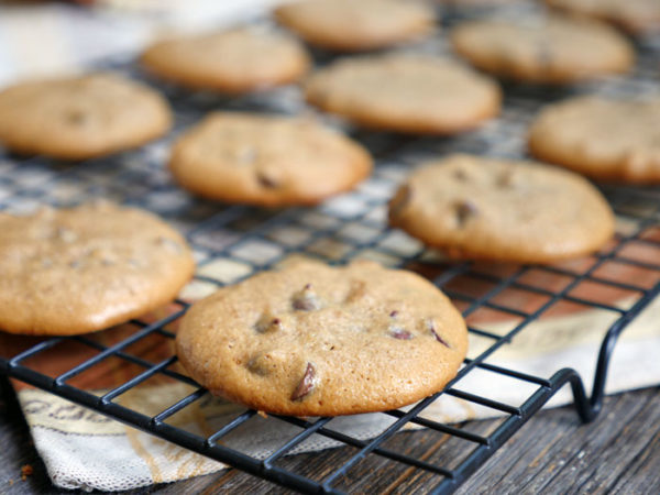 4-ingredient Tahini Chocolate Chip Cookies by Ashley of MyHeartBeets.com