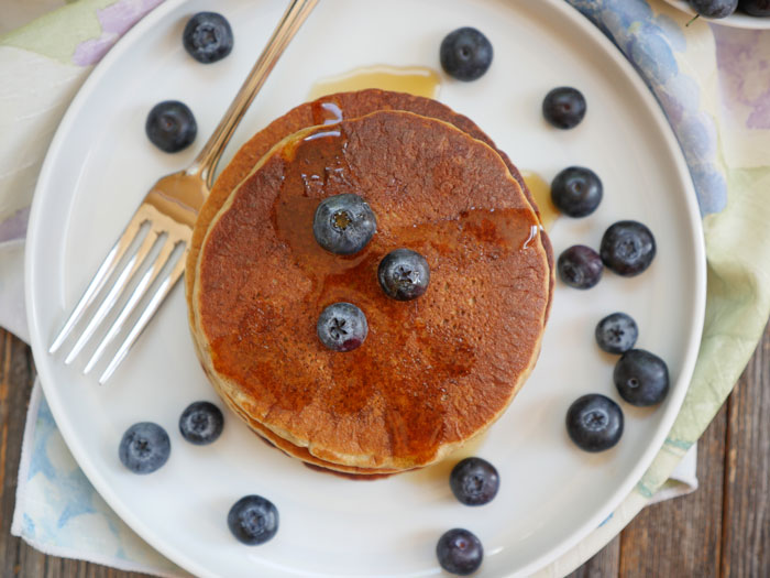 Banana Oatmeal Pancakes by Ashley of MyHeartBeets.com