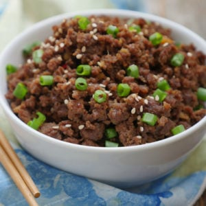 Instant Pot Ground Beef Bulgogi by Ashley of MyHeartBeets.com