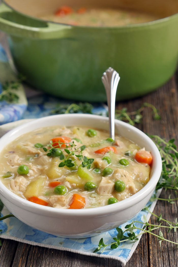Paleo Chicken Pot Pie Soup by Ashley of MyHeartBeets.com