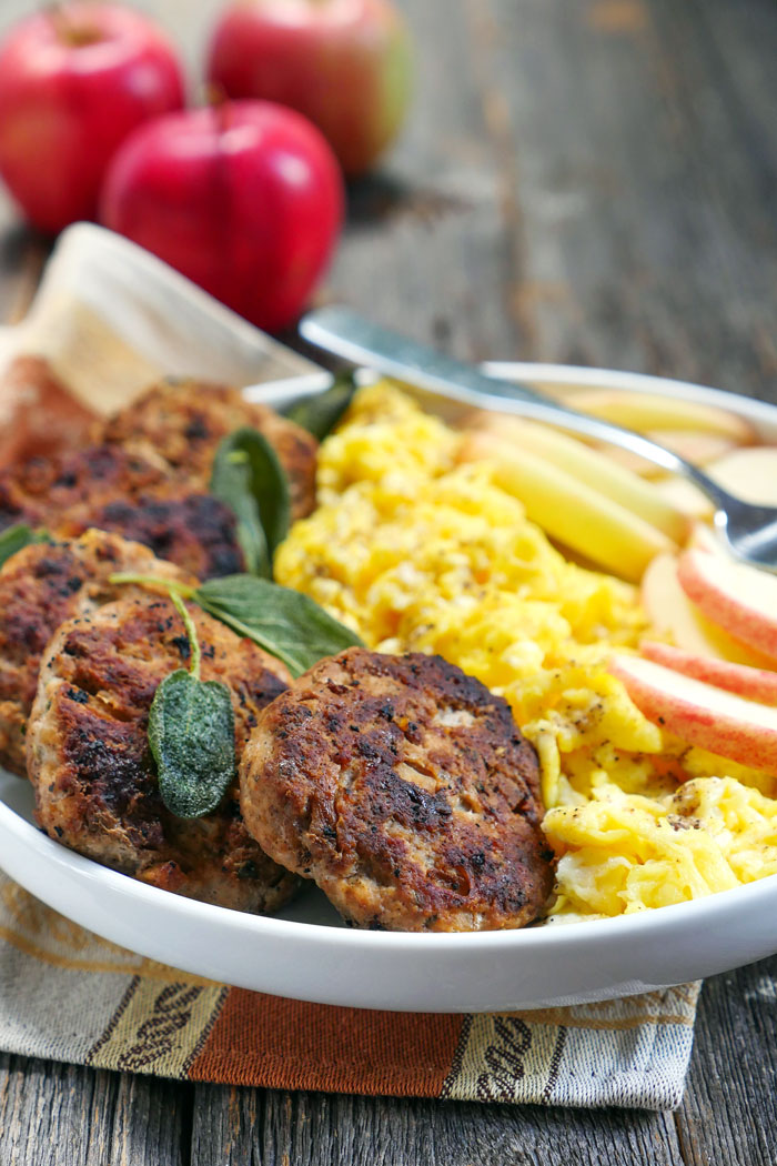 Spicy Apple Sage Breakfast Sausage by Ashley of MyHeartBeets.com