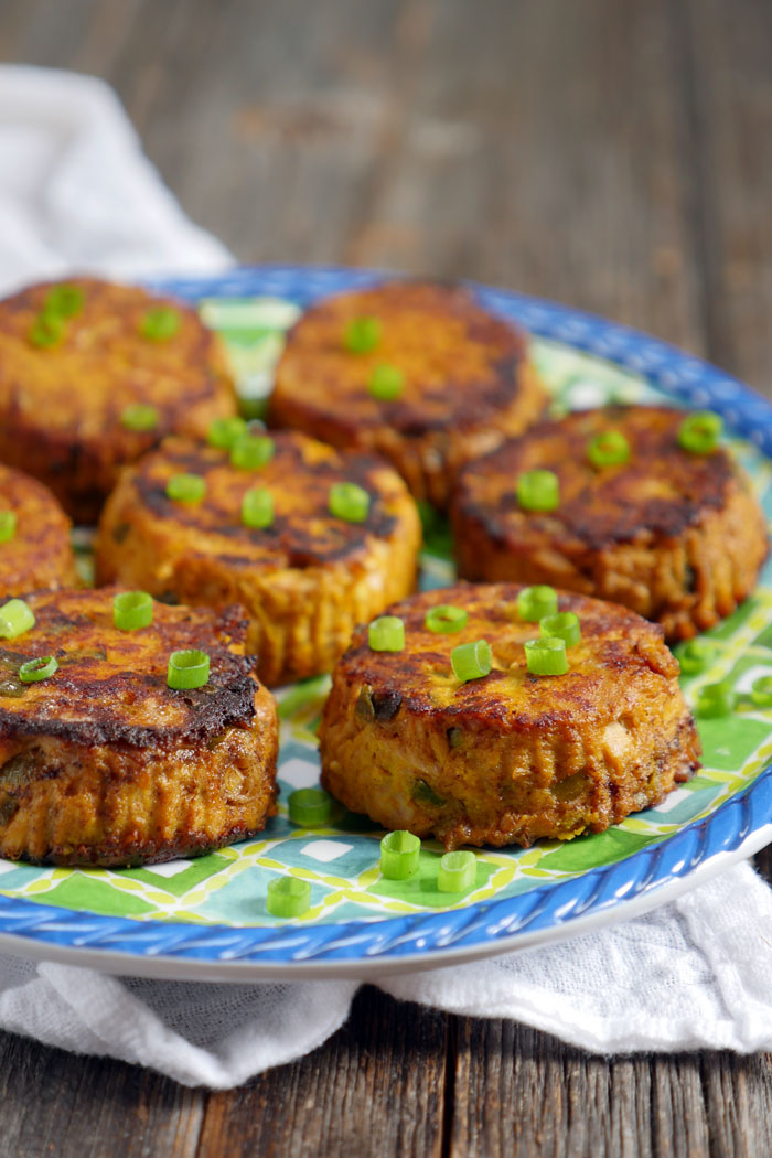 Spicy Canned Tuna Paleo Pumpkin Patties by Ashley of MyHeartBeets.com