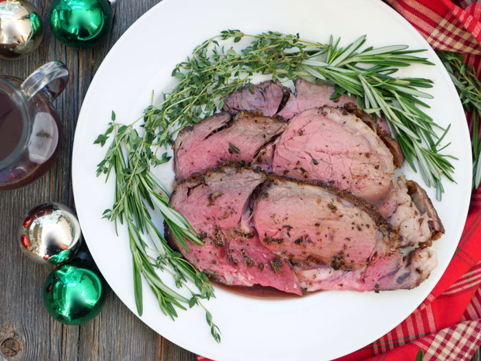 Herbed Rib Roast with Red Wine Au Jus - Perfect for Christmas Dinner! Recipe by Ashley of MyHeartBeets