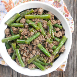 Spicy sage ground beef and green beans by ashley of myheartbeets.com