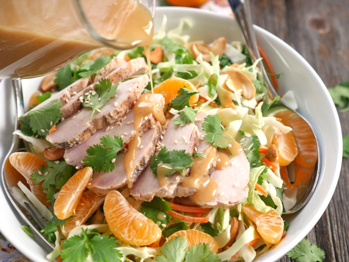 Asian Chicken Cabbage Salad with Creamy Sesame Dressing ...