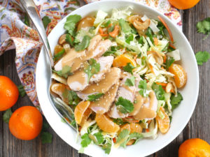 Asian Chicken Cabbage Salad with Creamy Sesame Dressing