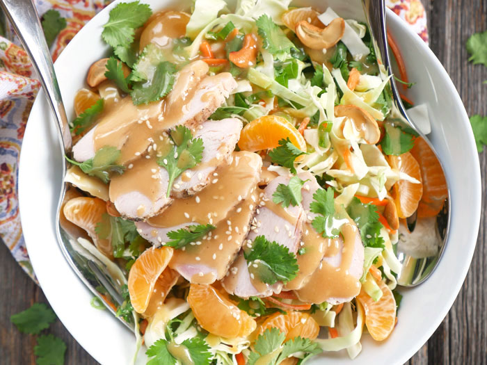 Asian Chicken Salad with Creamy Sesame Dressing (dairy and gluten-free recipe) by Ashley of MyHeartBeets.com
