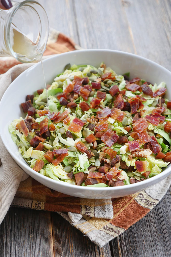 Bacon and Brussels Sprouts Salad with Balsamic Vinaigrette by Ashley of MyHeartBeets.com