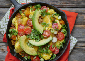 Spiced Potato and Egg Breakfast Skillet with Avocado