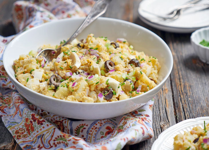 Potato Salad with Eggs and Olives by Ashley of MyHeartBeets.com