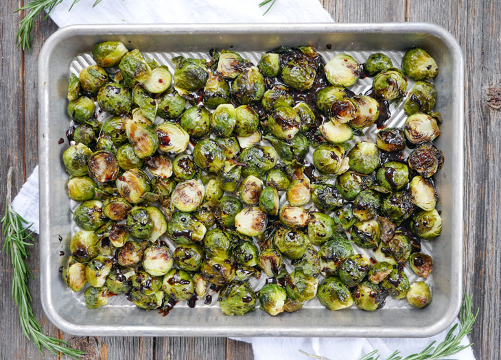 roasted brussels sprouts with balsamic glaze by ashley of myheartbeets.com
