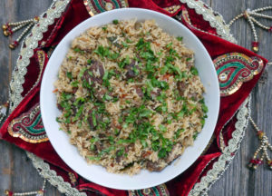 How to make biryani using leftover goat curry. Recipe by ashley of myheartbeets.com