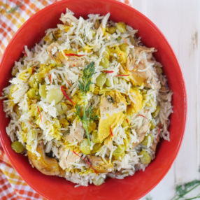 Instant Pot Baghali Polo (Persian Rice with Dill, Lima Beans and Chicken) by ashley of myheartbeets.com