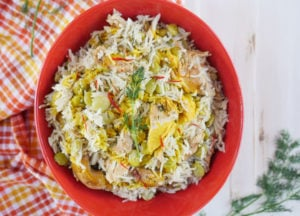 Instant Pot Baghali Polo (Persian Rice with Dill, Lima Beans and Leftover Chicken or Turkey)