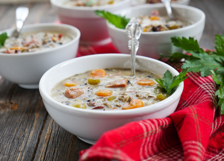 Creamy ham and wild rice soup made in an Instant Pot