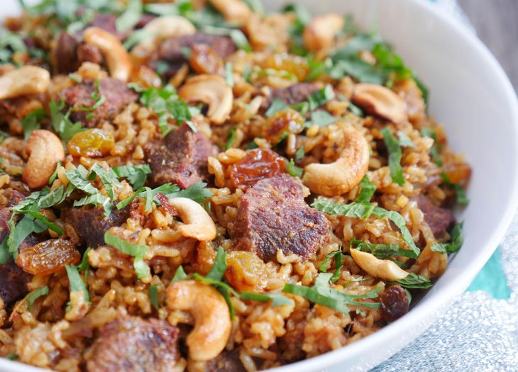 Instant Pot Brown Rice Biryani with Beef or Lamb