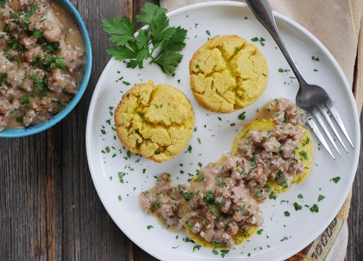 Paleo Sausage Gravy and Biscuits