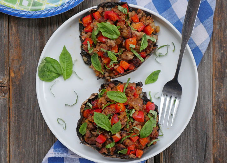 Hot Sausage Stuffed Portobello Mushrooms | My Heart Beets