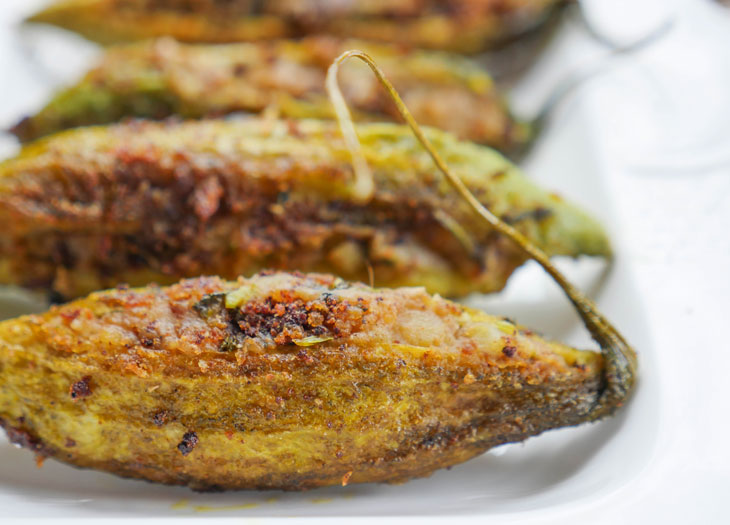 Aloo Stuffed Karela (Potato Stuffed Bitter Melon)