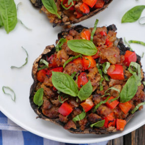 Hot Sausage Stuffed Portabella Mushrooms