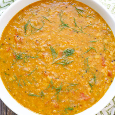 instant pot dill dal (dill leaves and lentils)