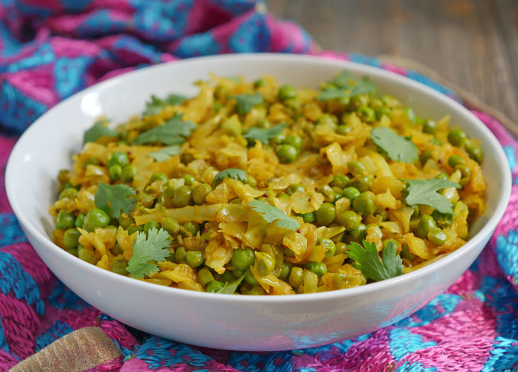 instant pot cabbage and matar sabzi (bandh gobi matar)