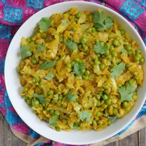 instant pot cabbage and matar sabzi (bandh gobi matar)
