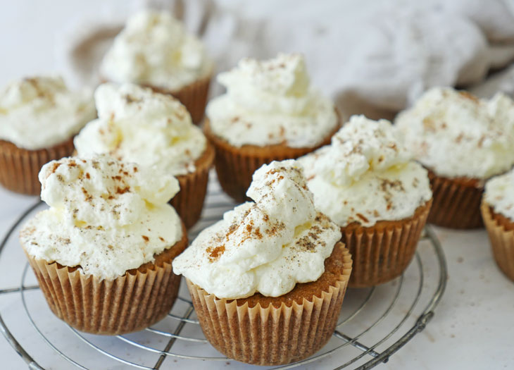 Chai Chocolate Chip Cupcakes with Whipped Cream Frosting