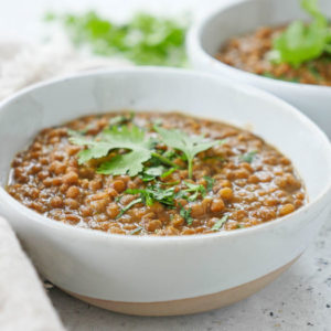 instant pot Indian brown lentil dal (whole masoor dal)