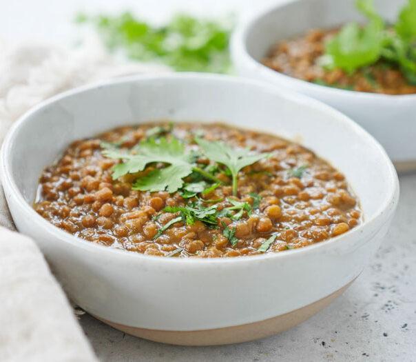 instant pot Indian brown lentil dal (whole masoor dal)