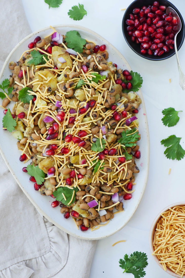 instant pot lobia chaat (black eyed pea potato chaat)