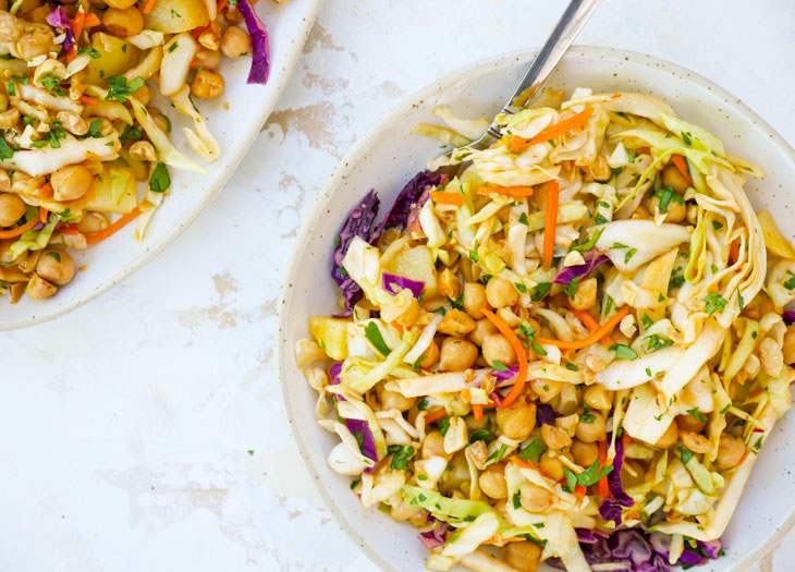 Spicy Cabbage Salad with Chickpeas and Potatoes