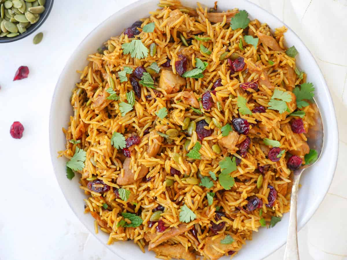 instant pot holiday turkey biryani